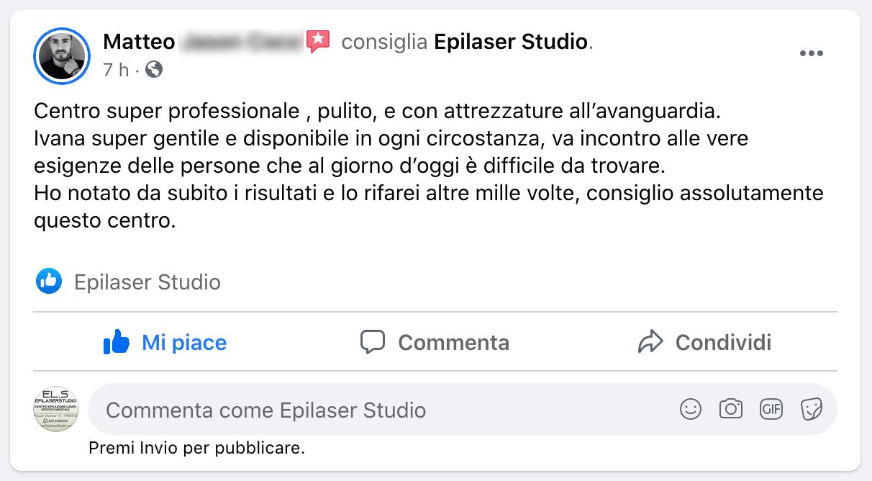 recensione Facebook Matteo